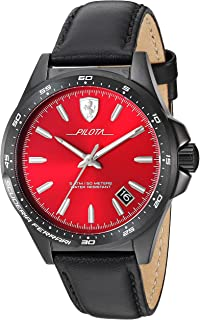 Ferrari Men's 'Pilota' Quartz Stainless Steel and Leather Watch, Color:Black (Model: 0830525)