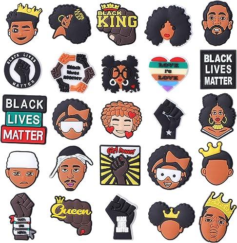 TopLAD 25 50 Shoe Charms Black Lives Matter Fits for Clog Shoes Sandals Decoration Wristbands Bracelets