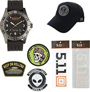 5.11 Kits Men's Military Tactical Sentinel Watch, Style 50133, Hat, Patches, and Decals Set Pack