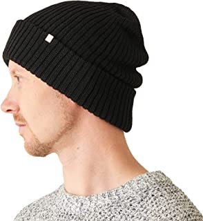 2e1c6be501acb CHARM Mens Chunky Silk Beanie - Womens Soft Slouchy Winter Knit Hat  Oversized Chemo Cap