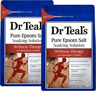 Dr. Teal's Epsom Salt Soaking Solution, Therapy & Relief with Rosemary and Mint, 48 Ounce, Pack of 2