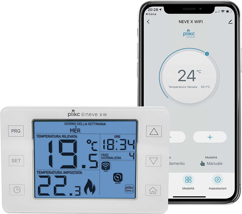 Cronotermostato digital inal/ámbrico WiFi de doble banda compatible con Alexa Plikc Nieve X RFW