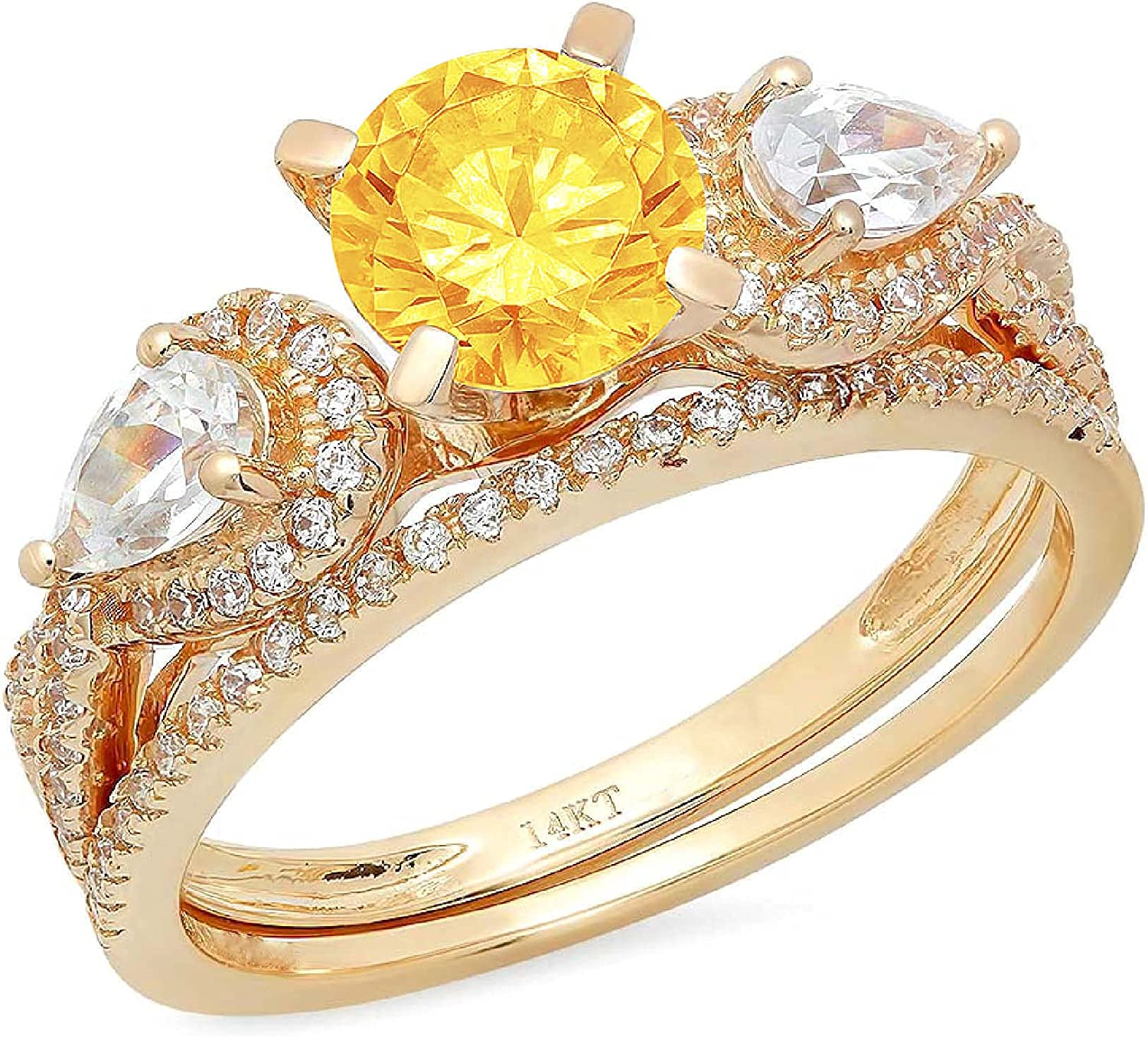 Clara Pucci 2.0ct Round Pear Cut Solitaire 3 stone Accent Genuine Flawless Natural Yellow Citrine Engagement Promise Statement Anniversary Bridal Wedding Ring Band set Solid 18K Yellow Gold