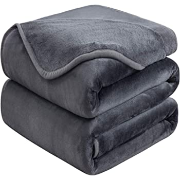 Soft Queen Size Blanket for Fall Winter Spring All Season Warm Fuzzy Microplush Lightweight Thermal Fleece Summer Autumn Blankets for Couch Bed Sofa,90x90 Inches,Dark Gray