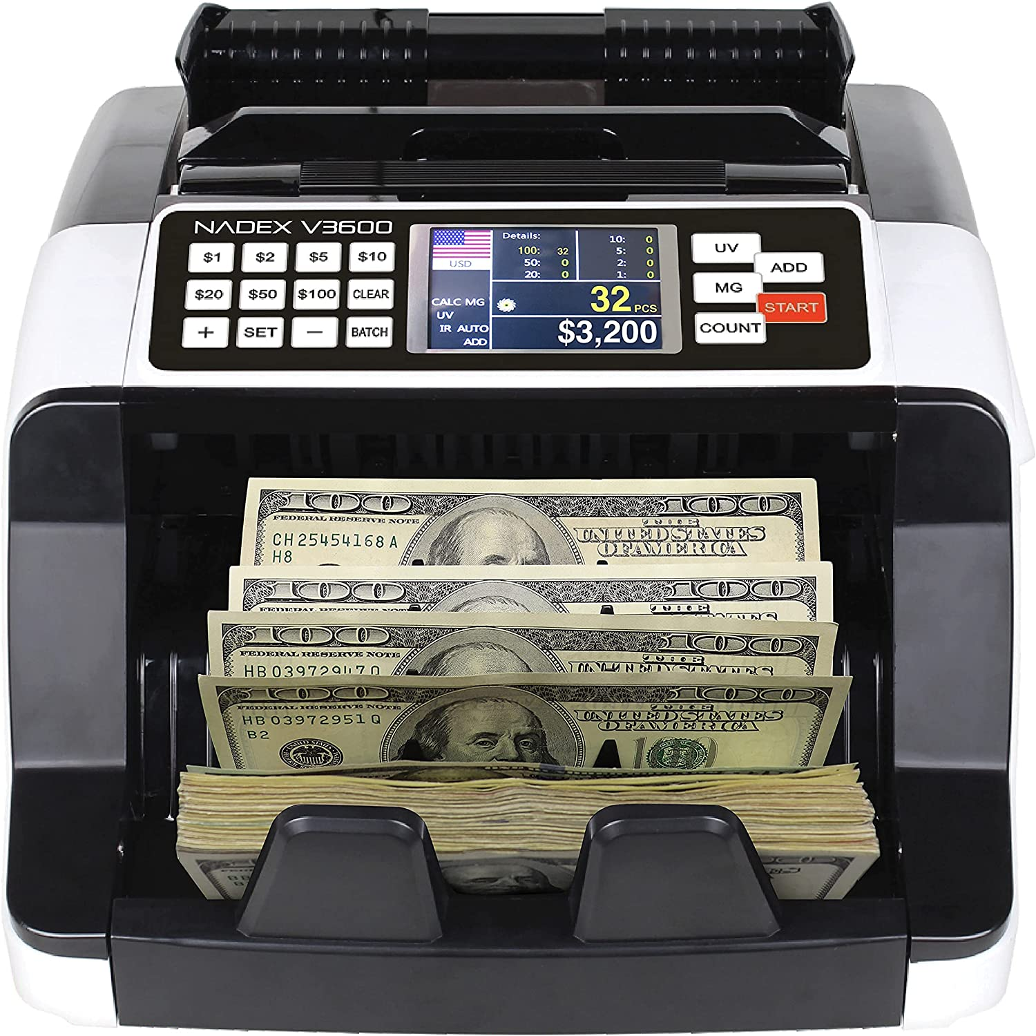 Nadex V3600 Value Display Money Counter - Banking and Retail Grade Fast Accurate Bill Counting with UV/MG/IR Counterfeit Detection - Color Coded Dual TFT Display - Counts 1000 Notes/Min : Office Products