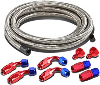 Fuel Tank Gas Cell 6AN to 10AN Fittings+12 inches Nylon Braided Return Hose Feed Line Kit (Silver)