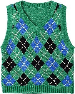 Aiihoo Women Girls V Neck Plaid Knitted Sweater Vest Knitwear Argyle Sleeveless Jumper Casual Knitwear