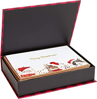 C.R. Gibson Cat Themed Boxed Christmas Cards, 5'' W x 7'' L, 33pcs