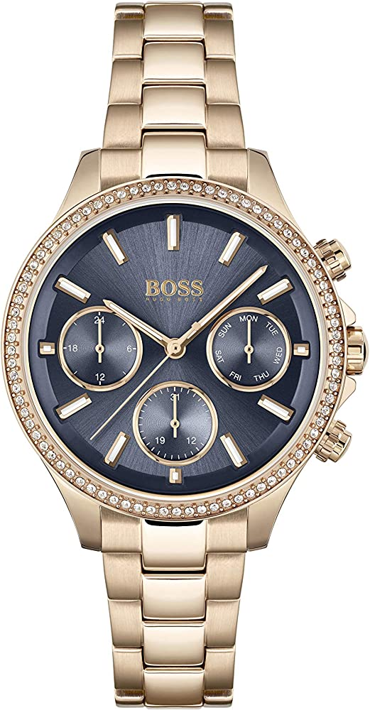 Hugo boss, orologio, cronografo per donna, in acciaio con placcatura ionica oro rosso e cristalli 1502566