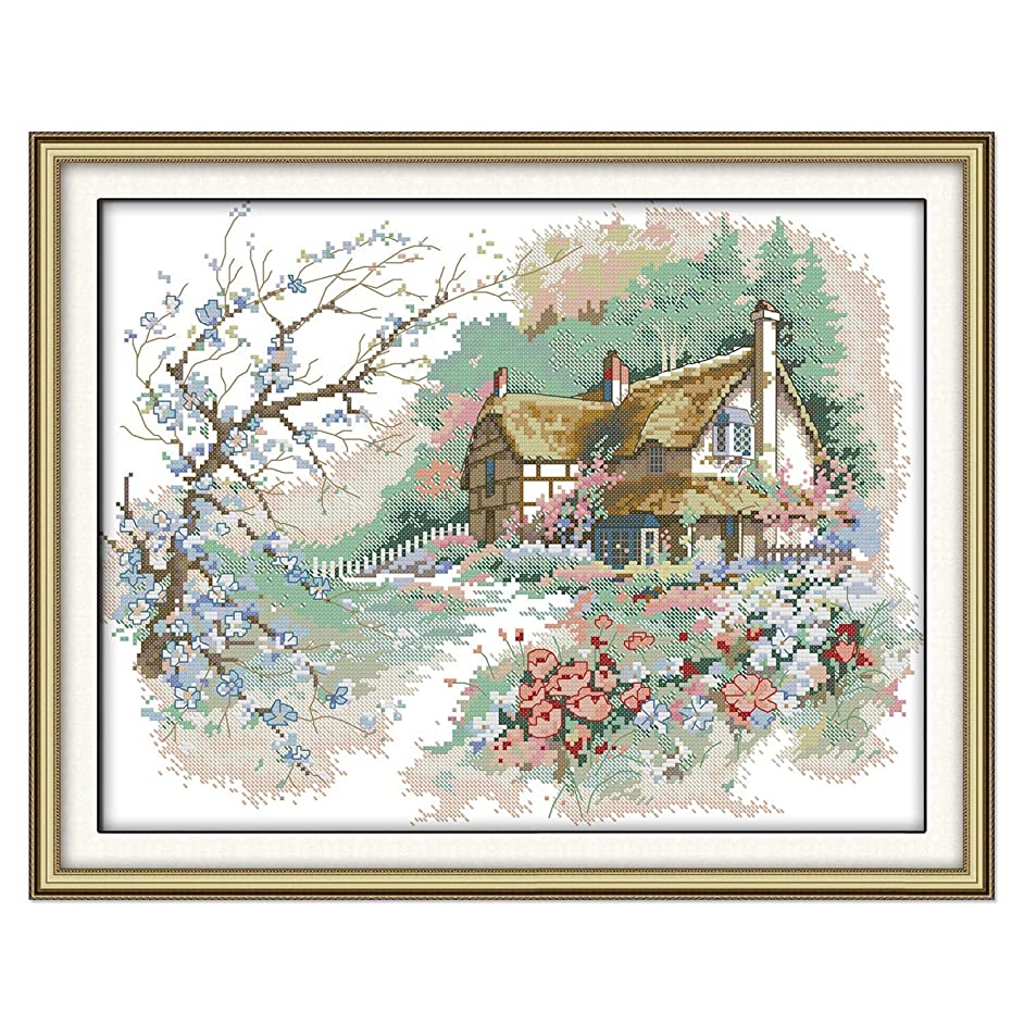 Cross Stitch Stamped Kits Pre-Printed Cross-Stitching with Patterns for Beginner Kids Adults, Embroidery Kits Needlepoint Crafts Starter Kits The Countryside Kits for Home Wall Decoration