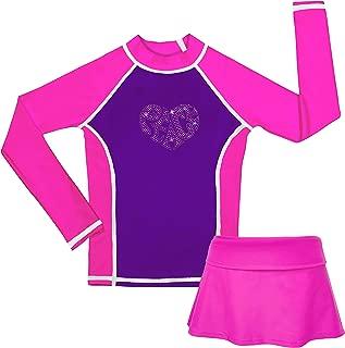 Girls Long Sleeve Rashguard Bikini Skirt Set Sun Protection Swimsuit