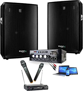Karaoké Pack Sono 600W - Double Micros sans fil - Ampli Hifi Bluetooth USB - 2 Enceintes sono 300W - Cable PC - DJ anniver...
