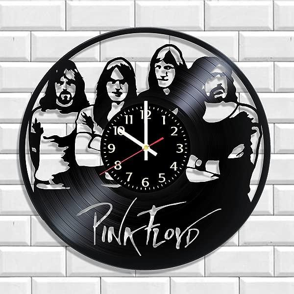 艺术复古挂钟粉红色弗洛伊德由真正的乙烯基粉红色弗洛伊德贴花音乐海报