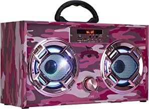 Mini Boombox with LED Speakers –Retro Bluetooth Speaker w/Enhanced FM Radio - Perfect for Home and Outdoor (Pink Camo) photo