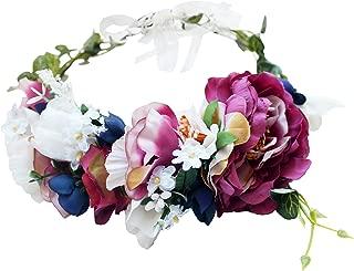 Vivivalue Women Floral Crown Boho Flower Headband Hair Wreath Floral Headpiece Halo with Ribbon Wedding Party Festival Photos