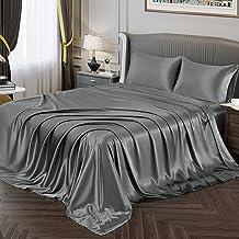 طقم ملاءات فونتي من الساتان الحريري، ملاءات جاهزة بجيب عميق + ملاءة سرير مسطحة + طقم اغطية وسائد