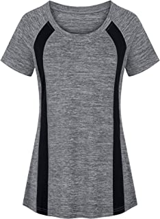 Womens Scoop Neck Short Sleeve Yoga Top Loose Fit Sport Workout T Shirt