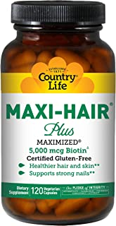 Country Life Maxi Hair Plus 5,000 mcg Biotin 120 VegiCaps