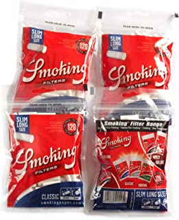 4 x SMOKING Slim 6mm LONG filter tips x 120 - total 480 filters