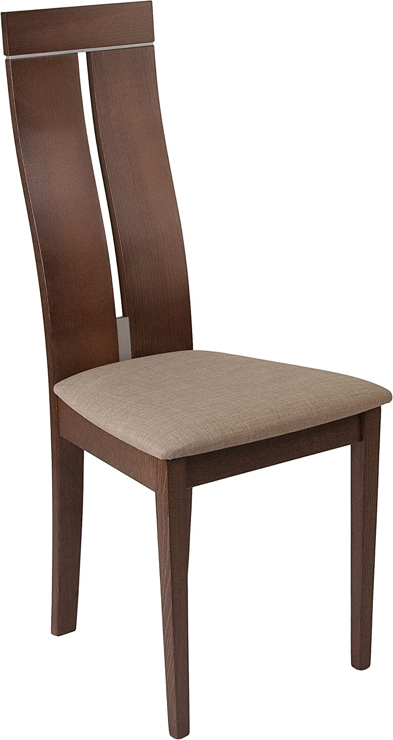 Flash Furniture Avalon Walnut Finish Wood Dining Chair with Clean Lines & Magnolia Brown Fabric Seat