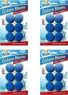 Prism 48pk Toilet Bowl Freshener | Each 50g Toilet Block Lasts for 14 Days | A Total of 24 Ocean Scented Cistern Blocks