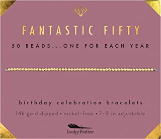 "50th Birthday Gifts for Women; 14K Gold Dipped Beads Bracelet on Adjustable 7""- 8"" Cord - 50th Birthday Jewelry Gift Ideas"