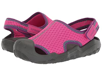 Crocs Kids Swiftwater Sandal (Toddler/Little Kid) (Neon Magenta/Slate Grey) Kids Shoes