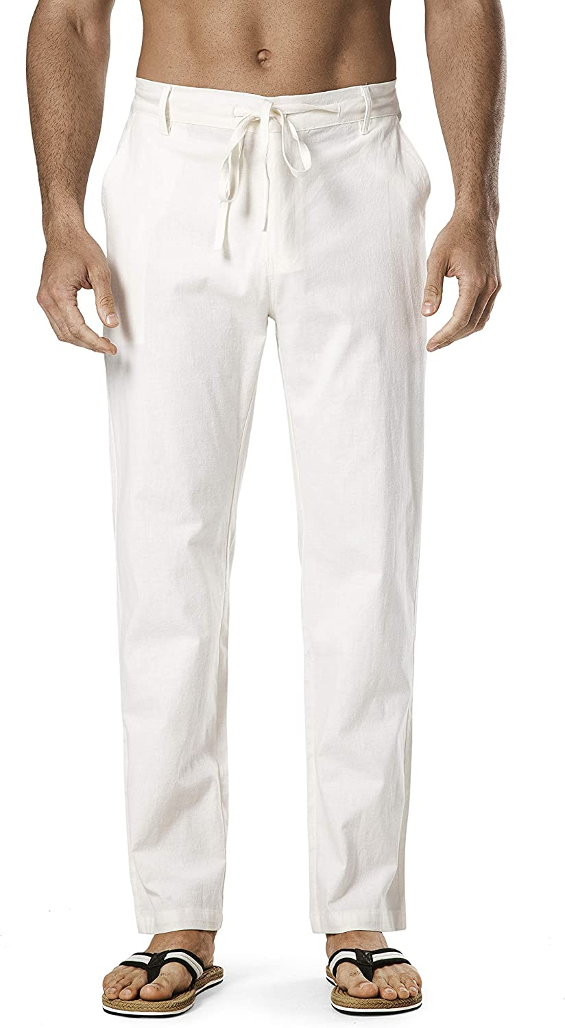 Popular products DELCARINO Men's Drawstring Linen Relaxed-Fit Pant Waist Elastic Reservation