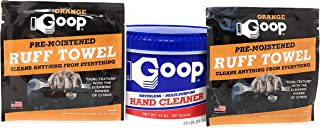 Goop Hand Cleaner (1 Can) and Laundry Stain Lifter Remover 14 ounce with 2 Orange Goop Ruff Towel Packets, Waterless, Non-...