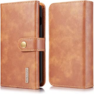 Samsung Galaxy S10 Wallet Case, Cowhide Leather Folio Flip Wallet Cases with Detachable SlimCase for Samsung Galaxy S10 6.1 Inch [15 Card Slots][Built-in Stand] (Brown)