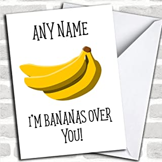 Bananas Over You Valentines Personalized Greetings Card