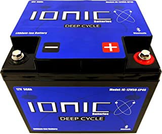 Ionic Lithium Ion Deep Cycle Battery 12V50-EP - 12V 50Ah with Built in Bluetooth monitoring - 5 Year Warranty - Great for Bass Boats, Trolling Motors, Lift Gates, Floor Sweepers, and more