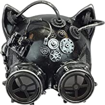 KBW Adult Unisex Steampunk Silver Cat Ear Helmet Mask with Goggles, Vintage Victorian Style Retro Punk Rustic Gothic Motorcycle Pilot Aviator Eyewear Headgear Costume Accessories