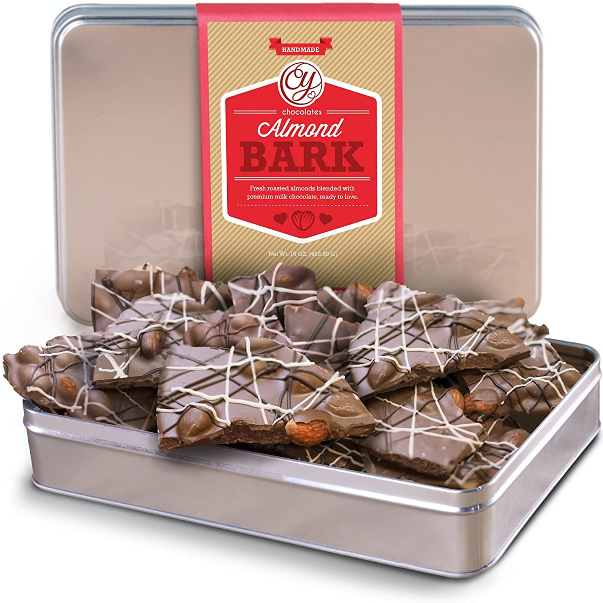 Real Milk Chocolate Almond Bark with Dark and White Drizzles in Gift Tin