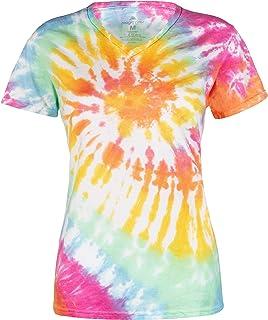 Magic River 女士 V 领扎染 T 恤 - 5 码女式尺寸 - 6 种颜色图案