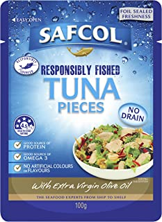 Safcol Australia SAFCOL Tuna Pouch in Extra Virgin Olive Oil 100g Pouches, 48 Pack, 1 x 4.8 kg