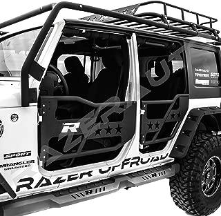 Razer Auto Black Textured Rock Crawler Off Road 4pcs Front+Rear Tubular 4 Door Replacement Set (Black) for 07-17 Jeep Wrangler JK