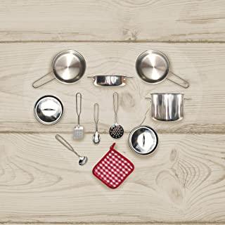 Teamson Kids - Little Chef Frankfurt Kitchen Pretend Play Stainless Steel Cooking Utensils Accessories Set Toys with Cookware Pots and Pans for Kids Boys Toddler and Girls - 11 pcs, Silver