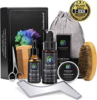 Lionbeard Beard Growth Grooming & Trimming Kit for Men Dad Beard Care - Beard Shampoo Wash, Unscented Beard Conditioner Oil, Mustache & Beard Balm, Beard Brush, Comb, Scissors, Perfect Gifts for Him