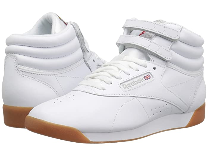 Retro Sneakers, Vintage Tennis Shoes Reebok Lifestyle Freestyle Hi WhiteGum Womens Classic Shoes $79.95 AT vintagedancer.com