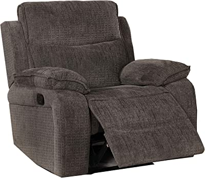 Benjara Fabric Upholstered Recliner with Contoured Seat and Padded Arms, Gray