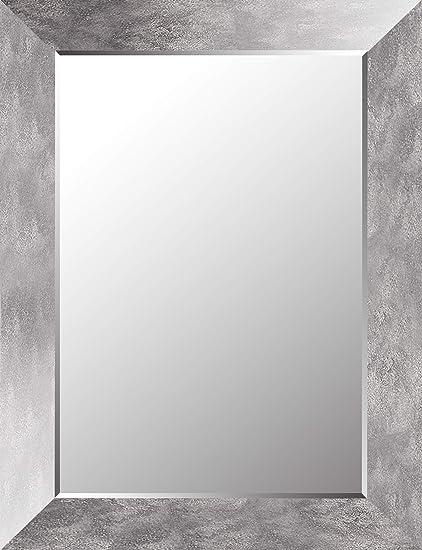 Specchio Da Parete Smussato A Specchio Sfumato Con Cornice A Specchio Bagno Camera Da Letto 26 25 X 34 25 Specchio Interno 20 X 28 Foglia Argento Cerchio Specchio Smussato Medio Amazon It Casa E Cucina