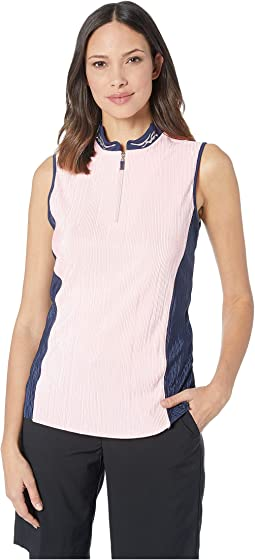 Crunchy Sleeveless Top with Embroidery on Collar and Contrast Side Panels
