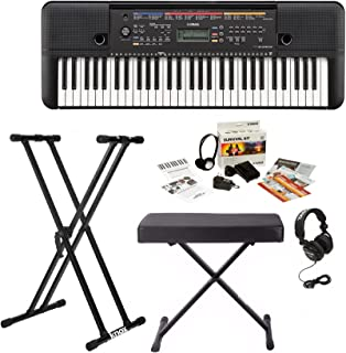 Yamaha PSRE263 61 Key Keyboard with Knox Bench, Stand, Studio Headphones, Survival Kit (Includes Power Adaptor)