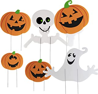 Halloween Decorations Themed 6 Piece Family Friendly Yard Decoration Signs, Including 4 Pumpkins, 1 Ghost, 1 Skeleton - Trick or Treat Happy Halloween Yard Signs for Outdoor Decor with Metal Stakes