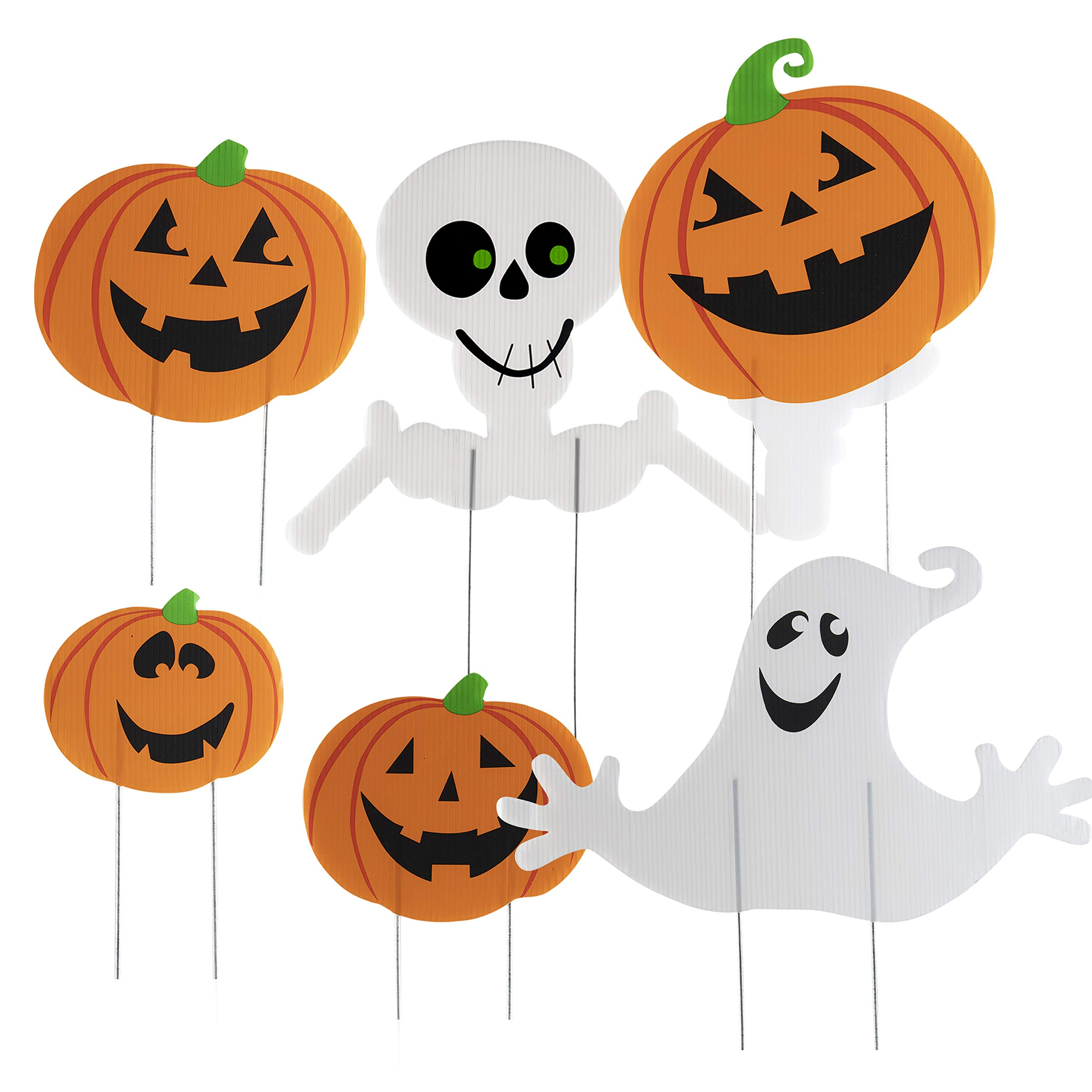 Halloween Decorations Themed 6 Piece Family Friendly Yard Decoration Signs Including 4 Pumpkins 1 Ghost 1 Skeleton Trick or Treat Happy Halloween