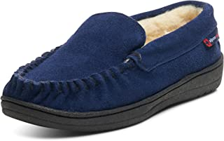 alpine swiss Yukon Mens Genuine Suede Shearling Slip On Moccasin Slippers US
