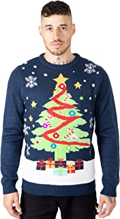 NOROZE Men's LED Christmas Jumper Unisex Gift Tree Elf Santa Xmas Sweater Pullover Top