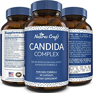 Candida Cleanse Supplement for Men and Women - Natural Candida Albicans Detox Pills Fast Acting Relief Pure Probiotics Protease Enzymes Aloe Vera Leaf Gel 90 Capsules by Natures Craft
