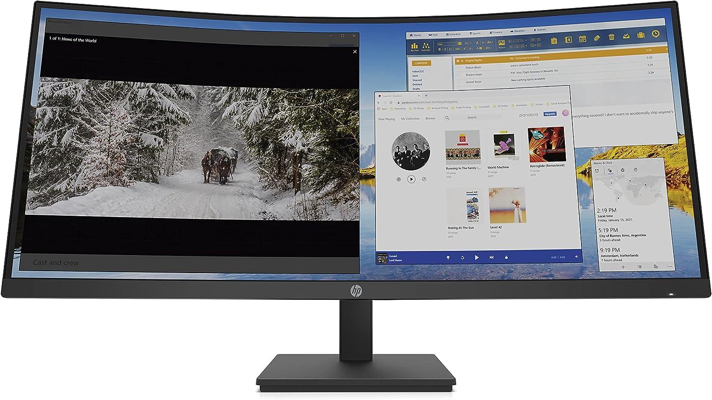 HP M34d - Monitor Curvo WQHD (3440 x 1440, 21:9, VA, Curvo, 5ms, 100 Hz, Altavoces, Altura Ajustable), Color Negro